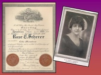 Above is a picture Rose E Scherer's lifetime membership certification, and picture of her as Grand Matron